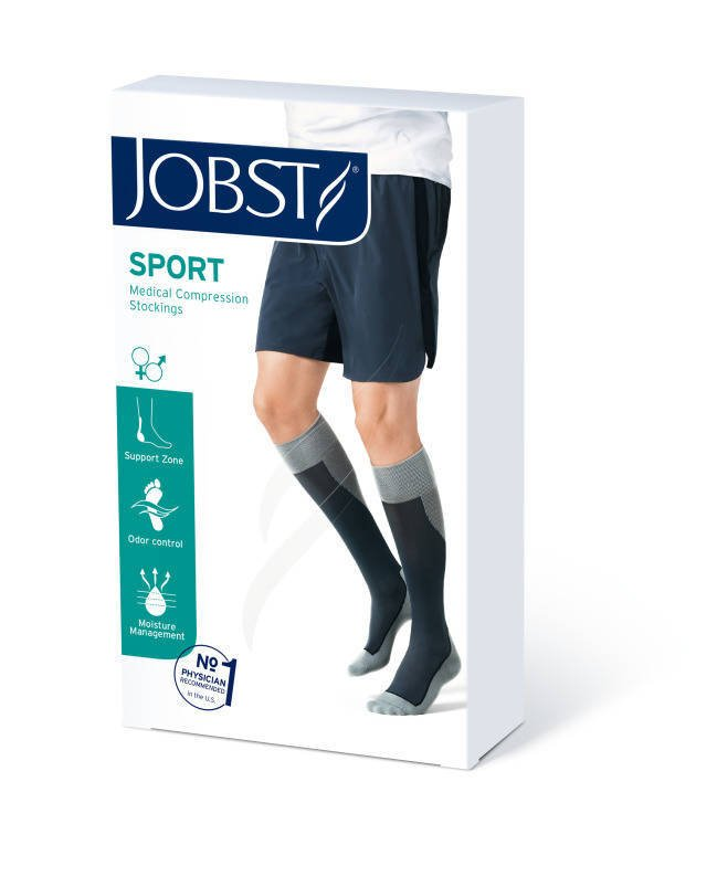 Jobst Sport podkolanówki zamknięte palce 15-20mmHg szary/grafit m